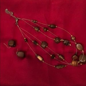 "Jewelry - Brown ""Wood"" Necklace & Earrings"